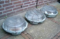 Unknown designer - Three industrial bully bunker lamps
