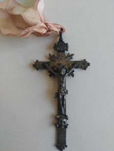 Antique silver cross with Christ figur, Italy, late 18th century