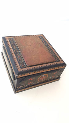 Antique wooden box with hand-painted icon - Russia, ca 1900