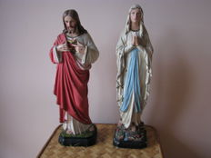 Painted plaster figurines of Christ and the Virgin, 1970s