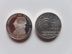 France – 100 Franc 1986 and 1987 Piedfort (2 coins) – silver