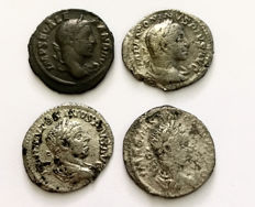 Roman Empire - A small collection of four Denarii of Severus Alexander and Elagabal.