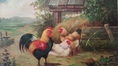 Marinus Adrianus Koekkoek II (1873-1944) (Attributed to)  - Landscape with chickens and rooster