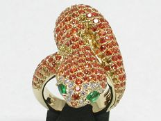Diamond, Golden sapphire, yellow sapphire & Emerald Ring Totaal: 9,34ct - Rings size: BE 58 NL 18,25 // free resizing up to size 70