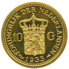 "The Netherlands - medal ""Remint of the 10 guilder coin 1933"" - gold."