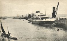 89 X-Merchant Navy ocean-going vessels, passenger ships and harbour views-mostly French-period:1900/1930