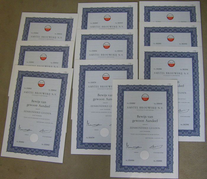 10 share certificates of Amstel Brouwerij (Engl.: Amstel Brewery)