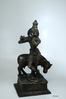 Bronze temple sculpture, Hindu god Krishna - India - second half 20th century