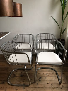 Unknown producer - 4 vintage designer tub chairs with chromed tubular frames