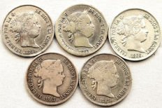 Spain – Isabel II – Lot of five coins – 40 silver Céntimos de Escudo – Complete collection – 1864 to 1868 – Madrid