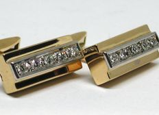 Vintage mens gold & diamond cufflinks total: 1,00 ct.