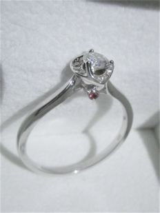 14 kt White gold entourage ring with eleven brilliant cut diamonds · 0.50 ct in total · size 57½