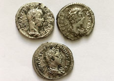 Roman Empire - lot of three denarii- Caracalla, Geta, Severus Alexander