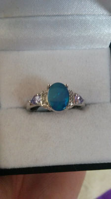 Rarest Australian Boulder Opal, Tanzanite, & Diamond Art Vintage style ring. No Reserve