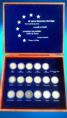 Europe, euro coins in a wooden box (seventeen different coins)