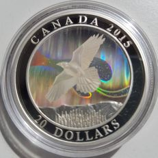 """Canada – 20 dollars 2015, """"The Raven"""" – silver."""