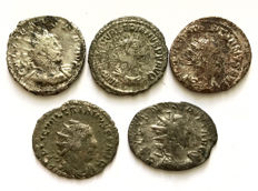 Roman Empire - lot of five Antoniniani from Valerian I and Gallienus