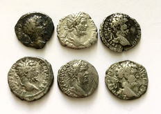 Roman Empire - A small collection of five Denarii of Septimius Severus