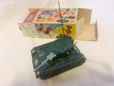 Arnold, Western Germany - Length 15 cm - Tin Wind-up Bison Tank , 1950s