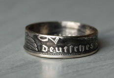 Double-Sided 0.625 Silver Coin Ring Made from a 1939 2 Reichsmark Coin, German Reich, WW2
