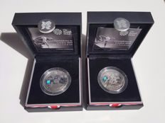 United Kingdom – 5 Pounds 2009 and 2010 'Countdown to London 2012' (2 different) – silver