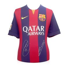Xavi Hernandez and Andres Iniesta - Stunningly Signed 2014-15 FC Barcelona home La Liga (Treble) shirt + COA inc. Photoproof.