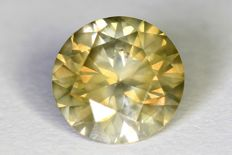 Diamant - 0.55 ct - Fancy Greenish Yellow - SI2- Zonder reserve prijs