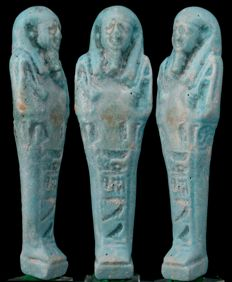 Ancient Egyptian faience ushabti from Negerin born to Heturu, - 12 cm - 4,72 inches