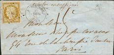 France 1852 - Yvert #1 Ceres 10 centimes bistre on 15 centime stamped letter with Baudot certificate