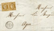 France 1850 - Cérès Yvert no. 1a, 10 centimes greenish bistre in pairs on a letter signed Calves