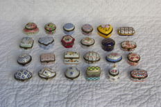 Lot of 24 old porcelain art pill boxes signed PA vintage decorative collection