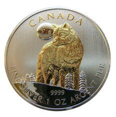 Canada - 1 x 5 CAD - Wolf - Wildlife Series 2011-999 silver coins + 24 carat gold edition