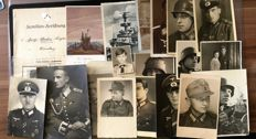 WW II Original 3rd Reich collection: family research and 21 photos/postcard photos German Wehrmacht