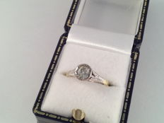 18 kt white and yellow gold ring with solitaire diamond of 0.30 ct - 51 (EU)