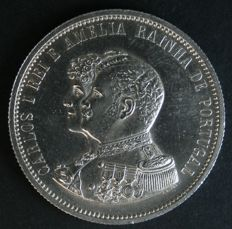 Portugal - 1,000 Silver Reis - 1898 - D. Carlos I (Carlos and Amélia) - Lisbon - ALMOST UNCIRCULATED