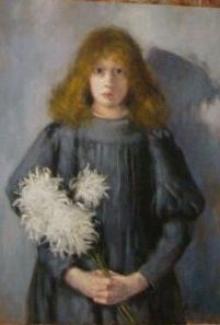 "Unknown "" Girl with chrysanthemums "" inspired O.Boznańska"
