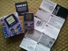 Nintendo Game Boy Color System Clear Grape Complete in Original Box!