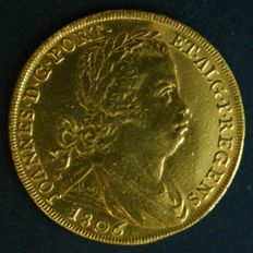 Portugal –Peça in GOLD – 1806 – João Príncipe Regente 'RADIATE CROSS' – Lisbon – ABOUT UNCIRCULATED – VERY RARE IN THIS CONDITION