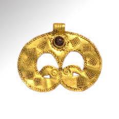 Migration Period Gold Pendant with Bird-Head, 3.1 cm L