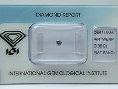 Natural Fancy  Pink  diamond 0.06 ct with I.G.I certificate ***No minimum price***