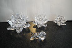 Swarovski - Water Lily Candle Holder large, medium, small, and a complimentary Rose.
