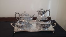 walker & hall c 1900 tea coffee pot set 4pices & tray made in sheffield silver plated