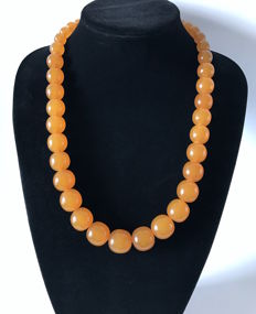 Old Amber caramel colour necklace with big size beads, 89.8 grams, Art Deco period, Baltic region