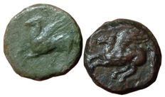 Greek Antiquity - Lot of two Æ Carthaginians in Sicily and North Africa, Siculo-Punic, circa 350-300 BC - Uncertain (sicilian?) mint - Palm tree / Pegasos - SNG Cop 1018