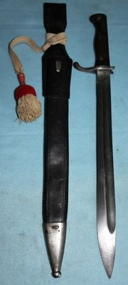 Butcher bayonet, 98/05, leather sheath, portepee, (6. Kompanie) and frog Germany, in very good condition, original Simson & co., Suhl manufacturer