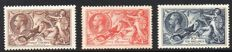 Great Britain King George V 1934 - 2/6d 5/- and 10/- Re-Engraved Seahorse Set, Stanley Gibbons 450/452