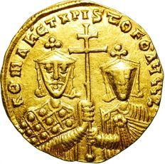 Byzantine Empire – Constantinople: Solidus, 924-959 AD – Constantine VII with Romanos and Christophoros