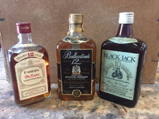 3 bottles - Usher's 12 years old - Ballantine's 12 years old & Black Jack 10 years old