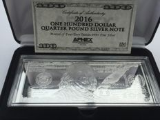 $100 Bill made of Pure 999 Silver, 4 oz 2016 - With Box & Certificate