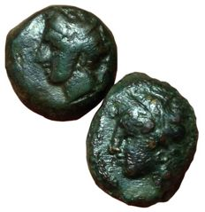 Greek Antiquity - Lot of two Æ, Carthaginians in Sicily and North Africa, Siculo-Punic, c. 370-340 BC - Persephone-Tanit / Horse - SNG Cop. 1022-3